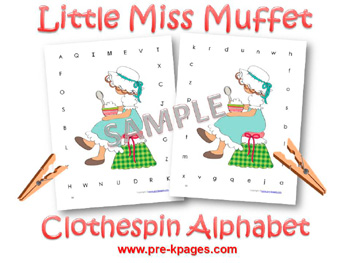 Printable Little Miss Muffet Alphabet Clothespin Game for preschool and kindergarten