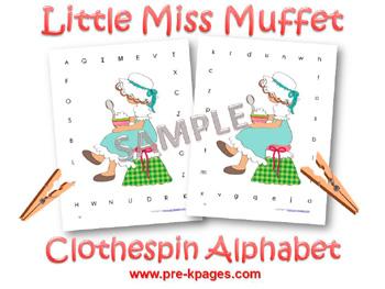 Printable Little Miss Muffet Alphabet Clothespin Game for preschool and kindergarten