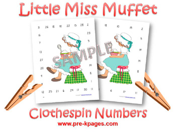 Printable Little Miss Muffet Clothespin Number Identification Game for preschool and kindergarten