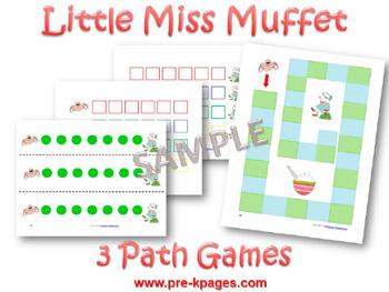 Printable Little Miss Muffet Math Games for preschool and kindergarten