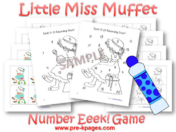 Printable Little Miss  Muffet Number Identification Game for preschool and kindergarten