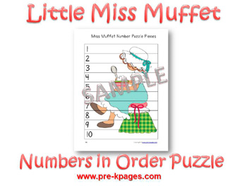 Printable Little Miss Muffet Number Puzzle (1-10) for preschool and kindergarten