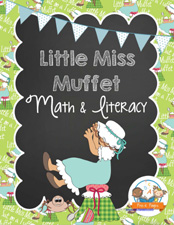 Printable Little Miss Muffet Literacy and Math Packet for preschool and kindergarten