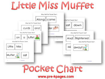 Printable Little Miss Muffet Pocket Chart Cards for preschool and kindergarten
