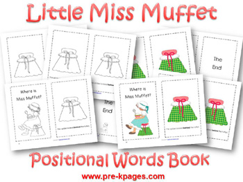 Printable Little Miss Muffet Positional Words Booklet for preschool and kindergarten