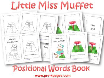 Printable Little Miss Muffet Positional Words Booklet for preschool and kindergarten