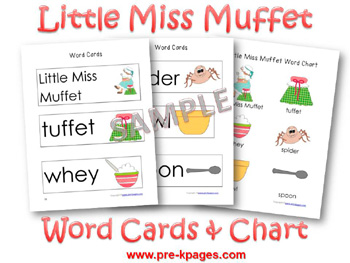 Printable Little Miss Muffet Word Cards and Chart for preschool and kindergarten