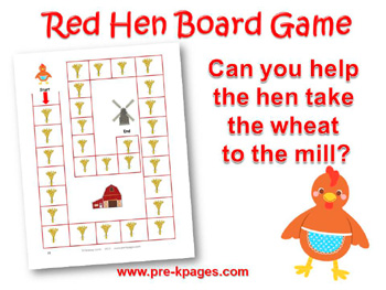Printable Little Red Hen Board Game for preschool or kindergarten