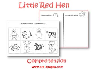 Free Printable Little Red Hen Comprehension Activity via www.pre-kpages.com