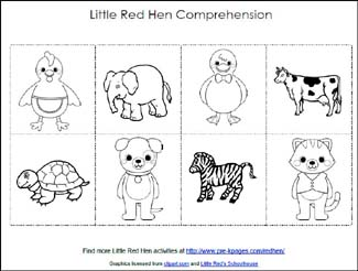 Free Little Red Hen Comprehension Printable via www.pre-kpages.com