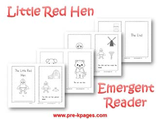 Little Red Hen Emergent Reader via www.pre-kpages.com