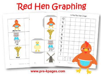 Printable Little Red Hen Graphing Activity for preschool or kindergarten