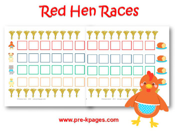 Printable Little Red Hen Races Board Game for preschool and kindergarten
