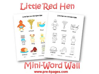 Little Red Hen Mini Word Wall via www.pre-kpages.com