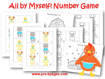 Printable Little Red Hen Number Identification Game for preschool and kindergarten