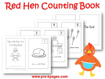 Printable Little Red Hen Counting Book {1-5} for preschool or kindergarten