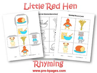 Little Red Hen Rhyming Activity via www.pre-kpages.com