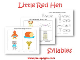 Little Red Hen Syllable Identification Activity via www.pre-kpages.com