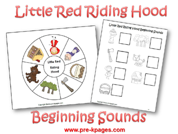 Little Red Riding Hood Printable Beginning Sound Activity via www.pre-kpages.com