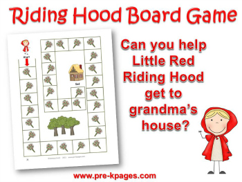 Printable Little Red Riding Hood Board Game for Preschool and Kindergarten