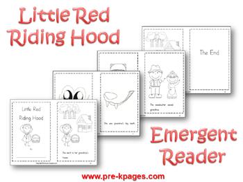 Printable Little Red Riding Hood Emergent Reader via www.pre-kpages.com