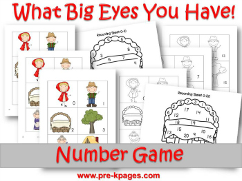 Printable Little Red Riding Hood Number ID game for Preschool and Kindergarten