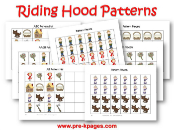 Printable Little Red Riding Hood Patterning Activity for Preschool and Kindergarten