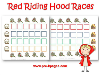 Printable Little Red Riding Hood Race to Grandma's House Math Game for Preschool and Kindergarten