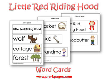 Little Red Riding Hood Word Cards via www.pre-kpages.com