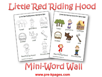 Printable Little Red Riding Hood Mini Word Walls via www.pre-kpages.com