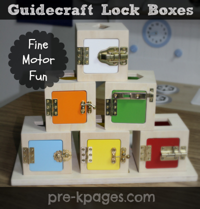 Fine Motor Practice in Preschool with Lock Boxes via www.pre-kpages.com