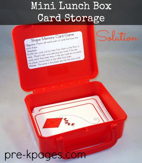 Lunch Box Card Storage Solution #organize #preschool #kindergarten