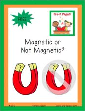 Free Printable Magnetic Not Magnetic Recording Sheets for Pre-K or Kindergarten via www.pre-kpages.com
