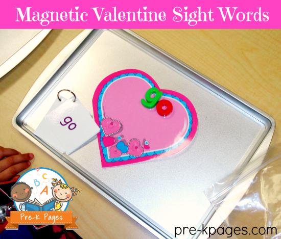 Magnetic Valentine Sight Words for Kindergarten
