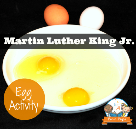 Egg activity for Dr. Martin Luther King Day in Preschool and Kindergarten