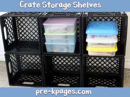 milk crate storage shelves for the classroom