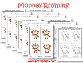 Fun Monkey Rhyming Game for pre-k and kindergarten