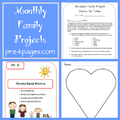 Printable Monthly Family Projects Packet for Preschool and Kindergarten via www.pre-kpages.com