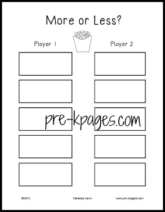 More or Less French Fry Recording Sheet for pre-k and kindergarten