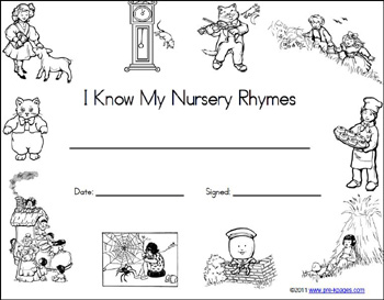 Free Printable Nursery Rhyme Certificate Via Www Pre Kpages