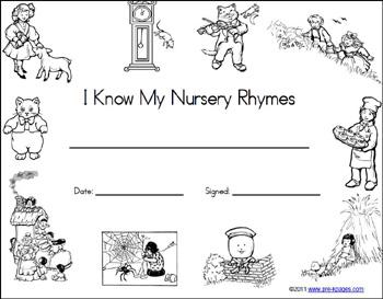 Free Printable Nursery Rhyme Certificate via www.pre-kpages.com