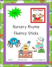 Free printable nursery rhyme fluency labels for pre-k or kindergarten via www.pre-kpages.com