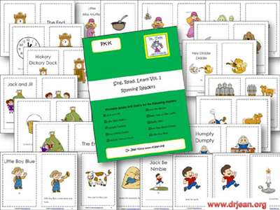 Printable Nursery Rhyme Books, Charts, and Songs from Dr. Jean via www.pre-kpages.com