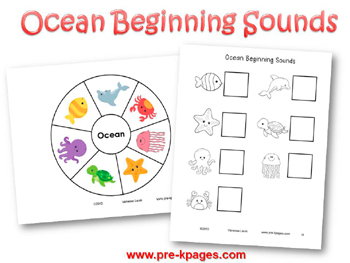 Ocean Beginning Sounds Activity for #preschool and #kindergarten