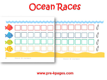 Ocean Races Printable Board Game for #preschool and #kindergarten
