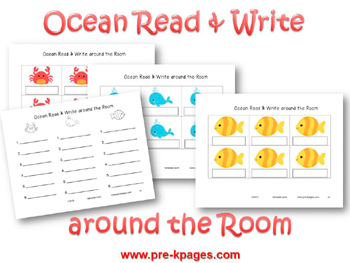 Ocean Read and Write Around the Room Printable Activity for #preschool and #kindergarten
