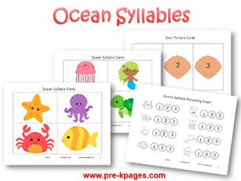 Ocean Syllable Identification Activity for #preschool and #kindergarten