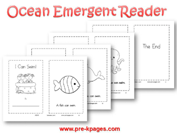 ocean theme printable emergent reader for preschool and kindergarten