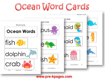 Printable Ocean Word Cards for Pocket Chart or Word Wall in #preschool and #kindergarten