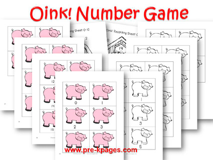 Oink Number Game for preschool and kindergarten